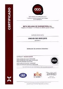 thumbnail of Certificado Calidad 2018